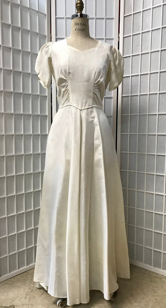 Gorgeous 1940s White Moire Evening Gown