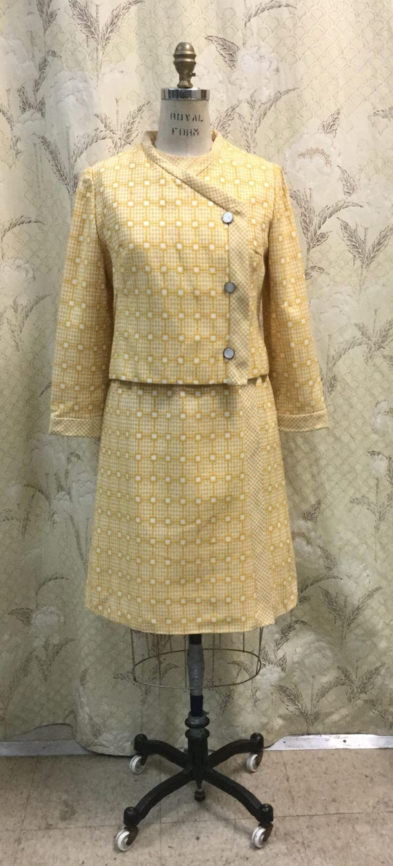Vintage 1960s Malcolm Starr Yellow Suit, Malcolm S