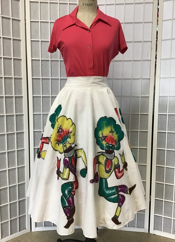 1950s Painted and Sequined Mexican Circle Skirt