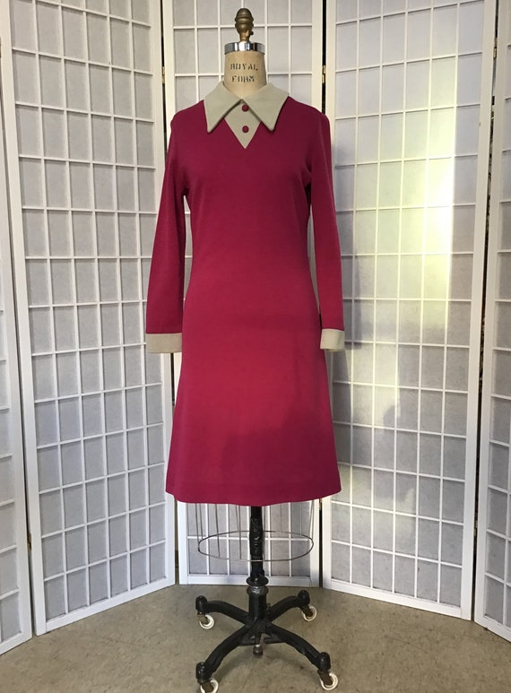1970s Raspberry Red Knit Dress