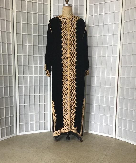 1960s Black Velvet and Gold Moroccan Caftan