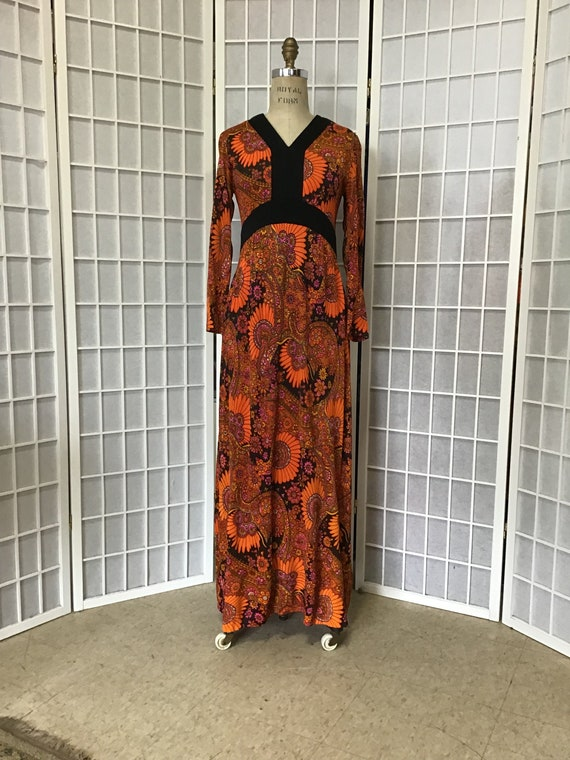 1960s  Rust and Black Maxi Dress