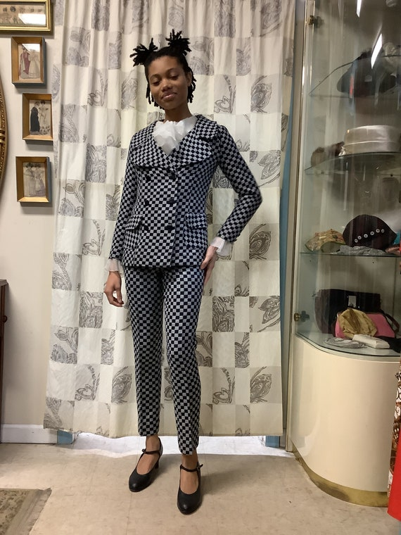 1970s Black and Grey Checkerboard 2 Piece Suit