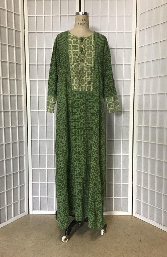 1970s Green Caftan, Green African Print Caftan