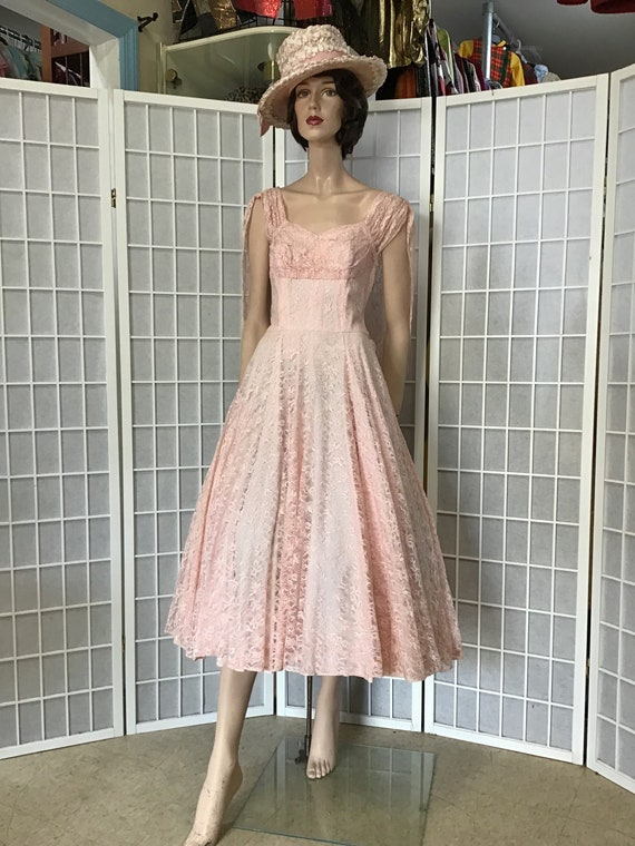 Beautiful 1950s Pink Lace Party Dress, Cocktail D… - image 1