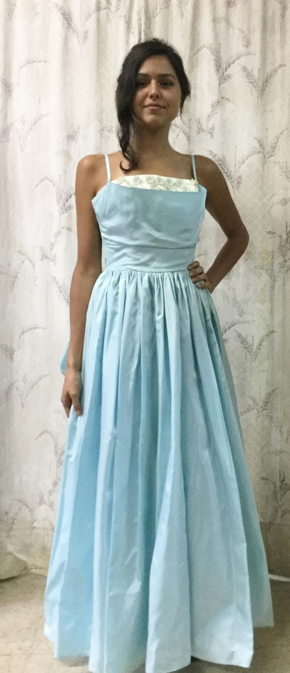 Vintage 1950s Blue Gown, 1950s Ball Gown