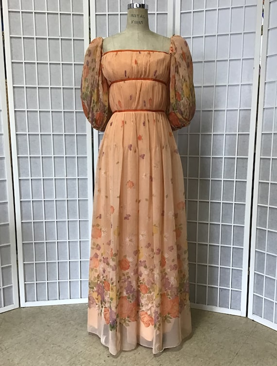 Deadstock 1980s Victor Costa Chiffon Gown