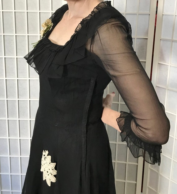 1940s Black Evening Gown - image 7