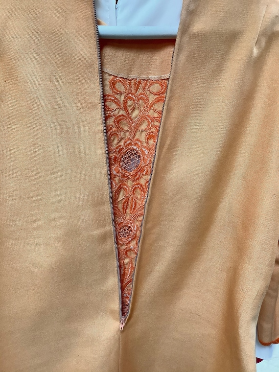 1970s Orange Embroidered Linen Suit - image 9