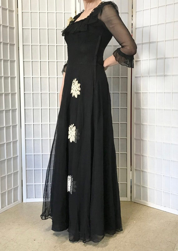1940s Black Evening Gown - image 4