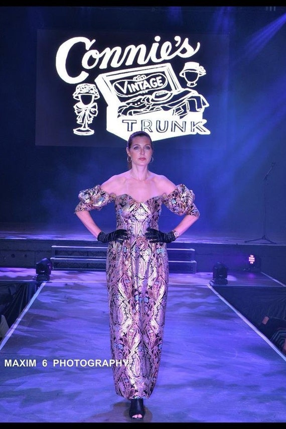 Spectacular Pauline Trigere Metal Lame Gown