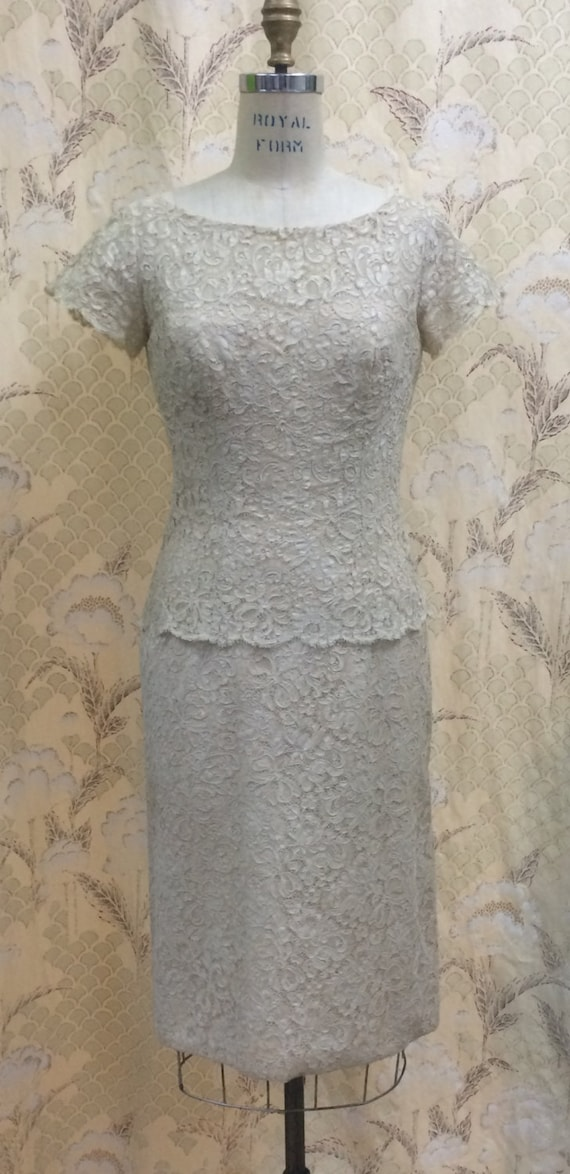 Vintage  Lord and Taylor  Lace  Dress/1960s Taupe