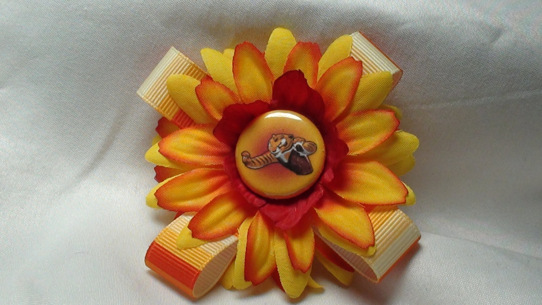 Kung Fu Panda Flower Hair Clip Orange And Yellow With Tigress Etsy