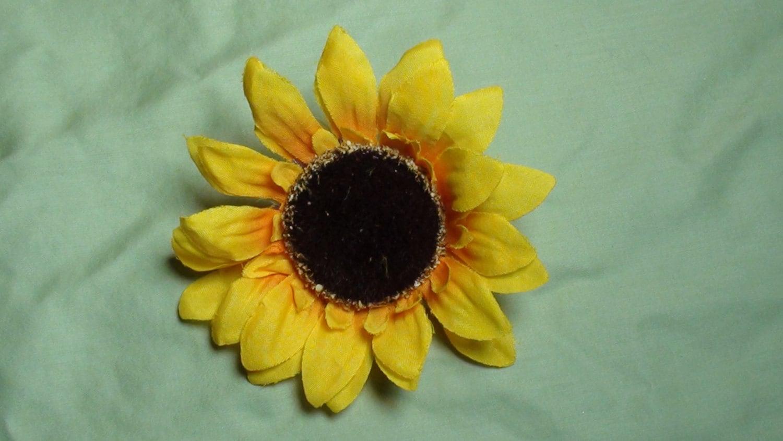 Yellow Sunflower Flower Hair Clip Black Center Girls Hair Etsy
