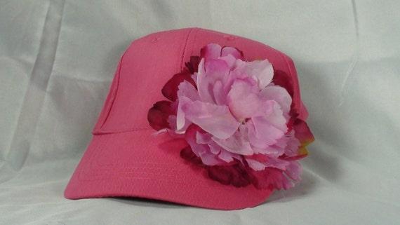 Pink baseball Cap with FLOWER Womens Hats Womens Pink Hats  0a0cdc08d