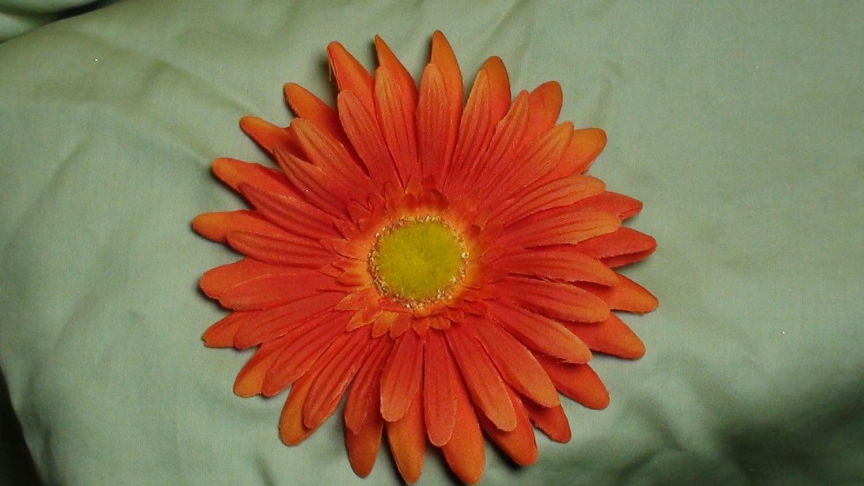 Orange Daisy Flower Hair Clip With Yellow Center Orange Etsy