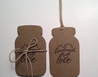 "Kraft Mason Jar Tags Labels"" Handmade with Love"" / Mason Jar Paper Tags / Favor Tags / Labels  / Custom Tags / Set of 12"