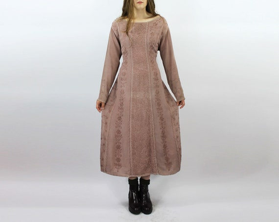 Dusty Pink Embroidered Maxi Dress Long Sleeve Dusty Pink Embroidery Dress Hippie Dress Boho Maxi Festival Casual Dress Floral