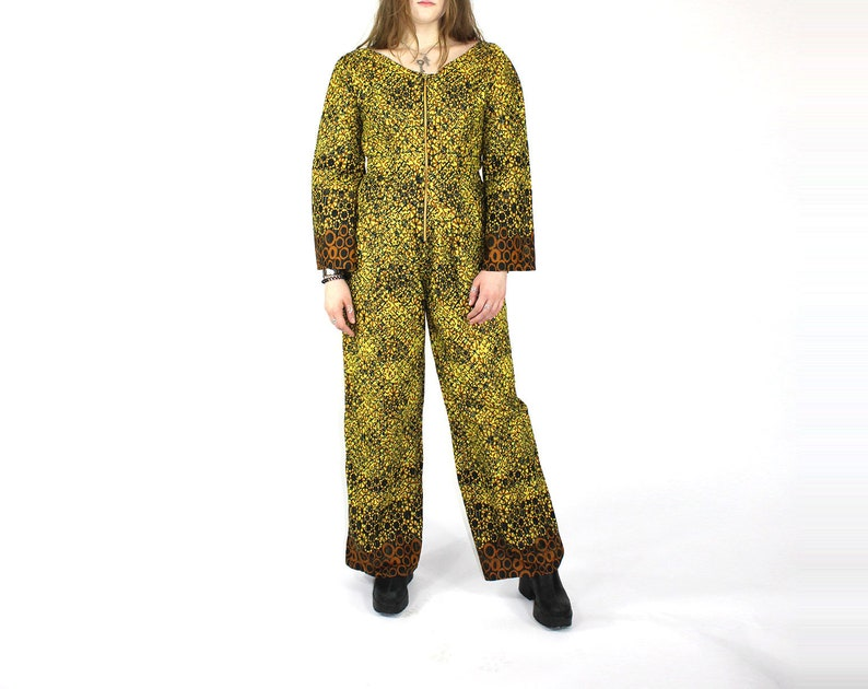 Africa Jumpsuit Brown Yellow Batik Print Bell Sleeves Wide Legs Metal Front Zipper Hip Pockets Picnic Womens Large Size Sunflower