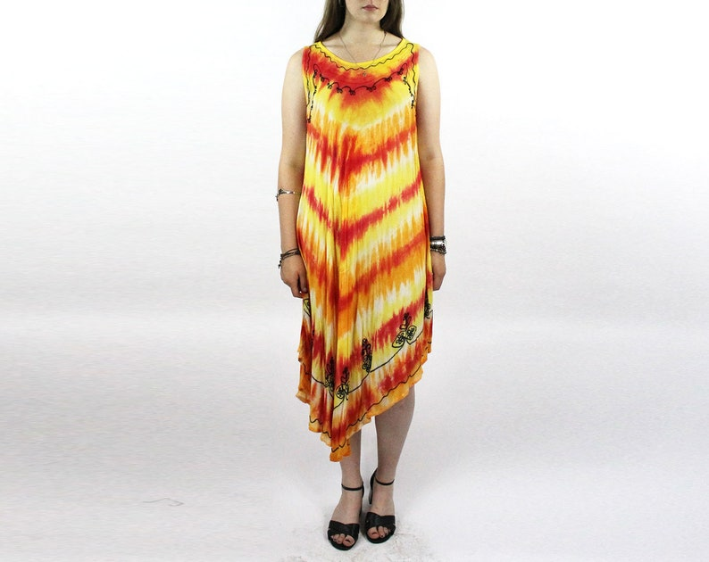 Tie Dye Dress Trapeze Batik Dress Shibori Dress Rainbow Hippie Dress Tie Dye Dress Gauze Festival India Indian Ethnic Free Size