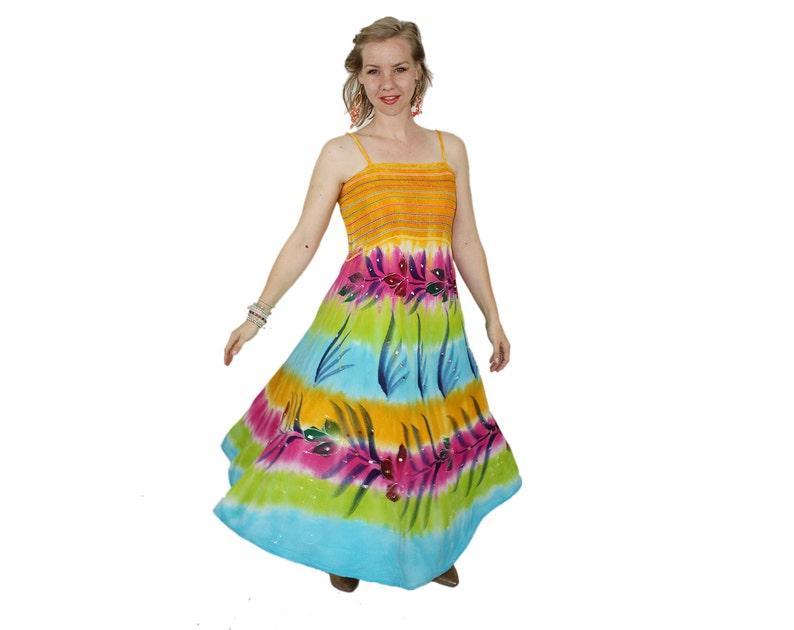e261dadcf6e Bright Dress Tie Dye Trapeze Maxi Hand Painted PALM Shibori