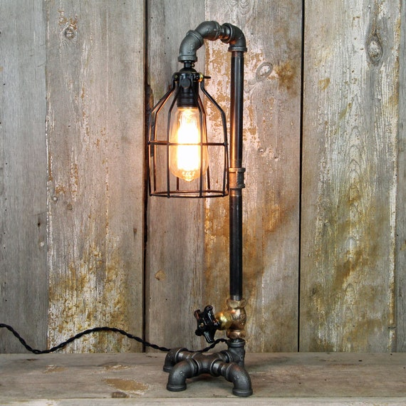 Steampunk Lamp Industrial Table Lamp In A Lamp Post Style