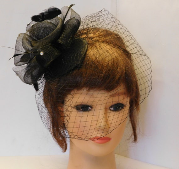 40 s 50 s BLACK Birdcage veil Teardrop HAT Fascinator  0738291a631