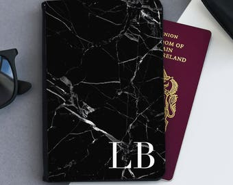 Black Marble Passport Cover |  Personalized Passport Cover Holder | Custom passport holder | Marble passport wallet| Passport Gift