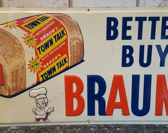 Braunu0027s White Bread Metal Tin Lithograph Sign Advertising Chef Kitchen Wall  Home Decor Mid Century Modern Retro Vintage