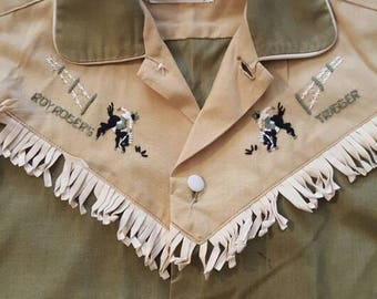 Roy Rogers Frontier Wear Cowboy Boys 8 Button Down Collar Shirt Costume  Fringe Mid Century Modern Vintage Country Western Mancave Decor 5142bd25c