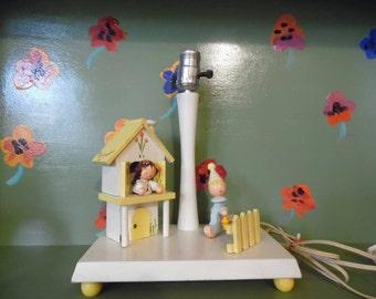 Wood Clown Girl House Irmi Lamp Night Light Flowers Yellow Children Kid Home Decor Nursery Mid Century Modern Retro Vintage