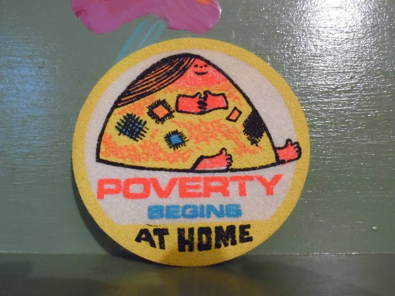 Impko Sew On Patch Funny Naughty Gag Gift Dirty Joke Cartoon Novelty  Poverty Begins at Home Mid Century Modern Retro Vintage