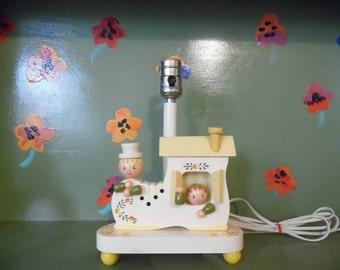 Shoe House Wood Irmi Lamp Night Light Flowers Yellow Children Kid Home Decor Nursery Mid Century Modern Retro Vintage