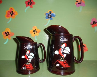 Batter and Syrup Pitchers Rooster Rustic Kitchen Decor Pancakes Waffles Vintage Ceramic Breakfast
