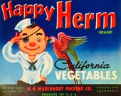 Vintage Crate Label for Happy Herm Brand California Vegetables made in USA circa 1940s