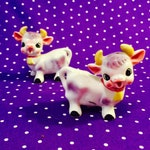 Anthropomorphic Milk Cows with Bells Salt and Pepper Shakers made in Japan circa 1950s