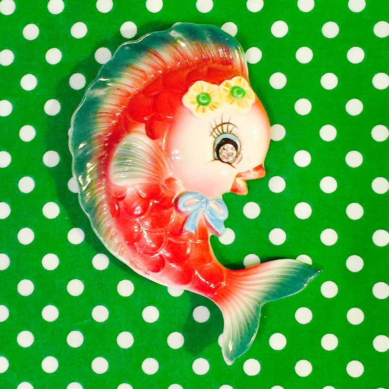 PY Miyao Anthropomorphic Pink Girl Fish Plaque with Rhinestone image 0