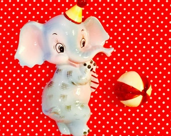 Lefton Anthropomorphic Circus Elephant Wall Pocket with Ball made in Japan circa 1950s