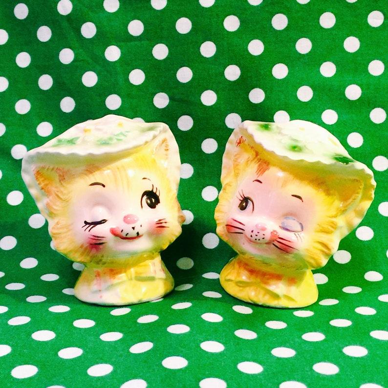 Enesco Anthropomorphic Winkin Kittens Salt and Pepper Shakers image 0