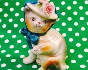 Ardalt Anthropomorphic Kitty Cat Kitten in a Hat and Bow Figurine made in Japan circa 1950s