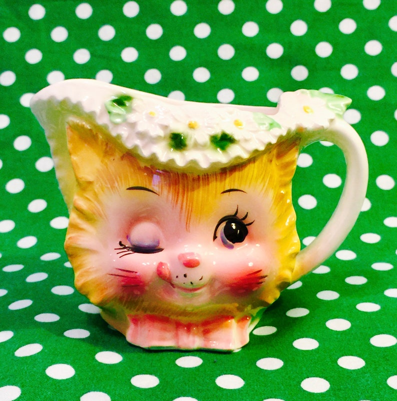 Enesco Anthropomorphic Winkin Kitten Creamer made in Japan image 0