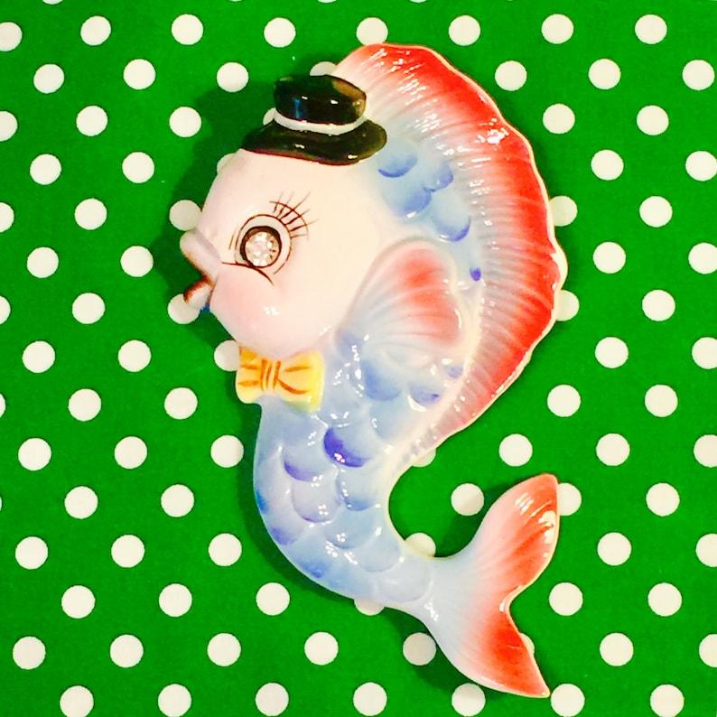 PY Miyao Anthropomorphic Blue Boy Fish Plaque with Rhinestone image 0