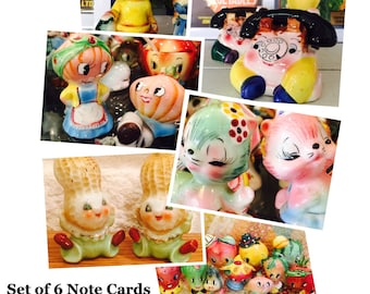 Set of 6 Note Cards with Envelopes featuring Vintage Anthropomorphic Salt and Pepper Shakers made in Japan circa 1950s
