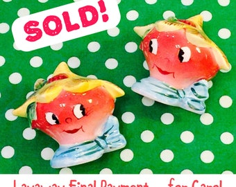 Layaway for Carol - Final Pmt - PY Miyao Anthropomorphic Lettuce Radish Head Boys Salt and Pepper Shakers made in Japan circa 1950s