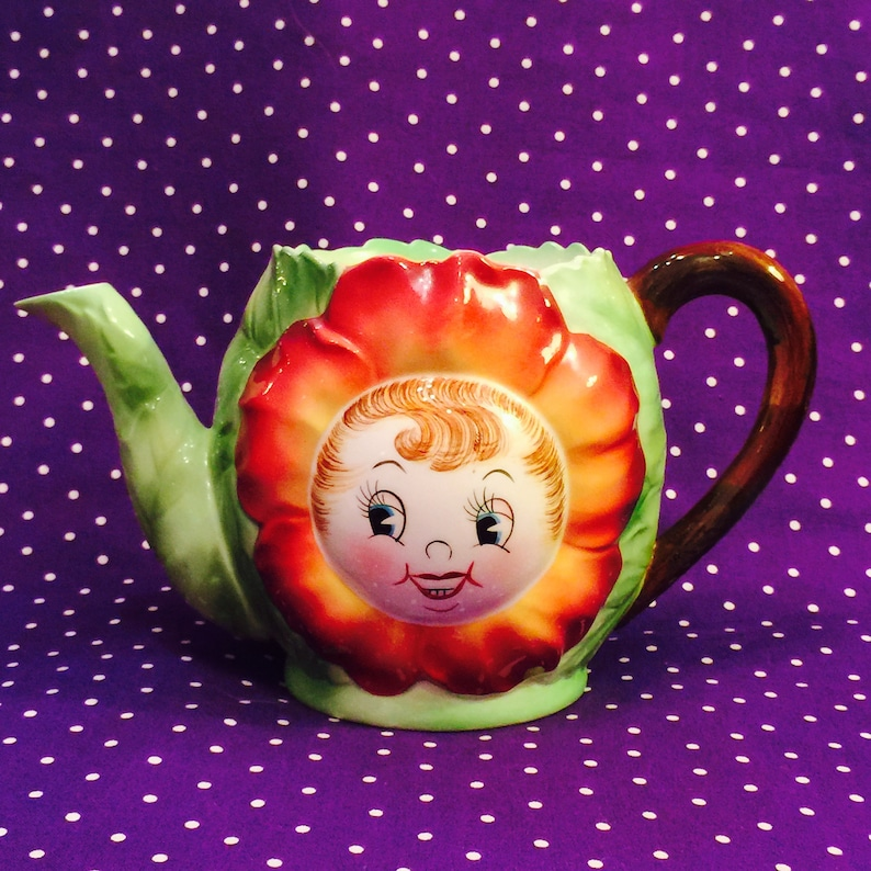 PY Ucagco Anthropomorphic Red Flower Girl Teapot from Japan image 0