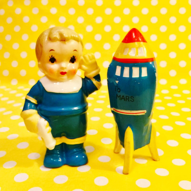 Enesco Rocket Boy and his Space Ship Salt and Pepper Shakers image 0
