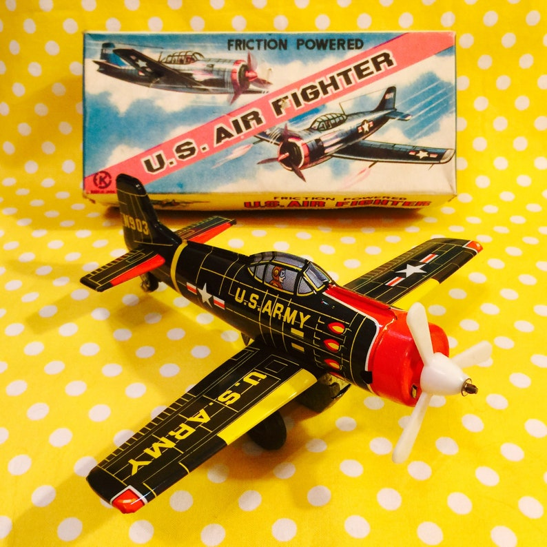 KA Japan US Air Fighter Plane Friction Tin Toy with Original Box made in  Japan circa 1950s