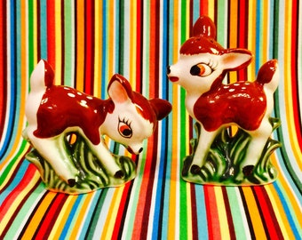 Anthropomorphic Deer Fawn Salt and Pepper Shakers made in Japan circa 1950s