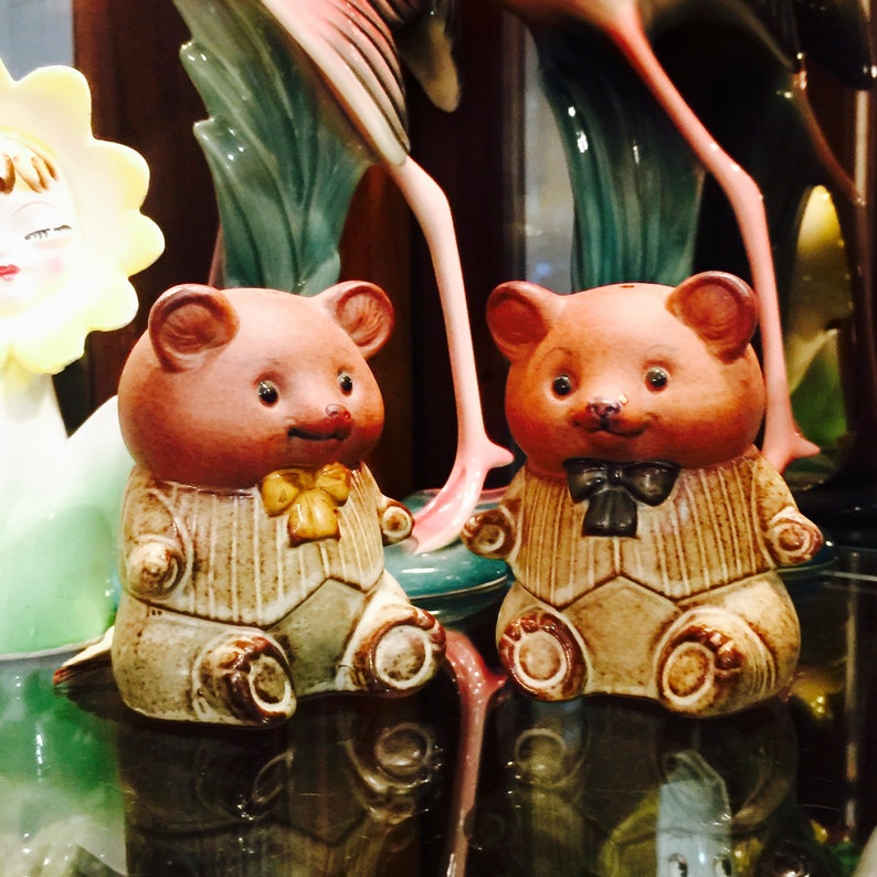 Giftcraft Anthropomorphic Smiling Bear Cubs Salt and Pepper image 0