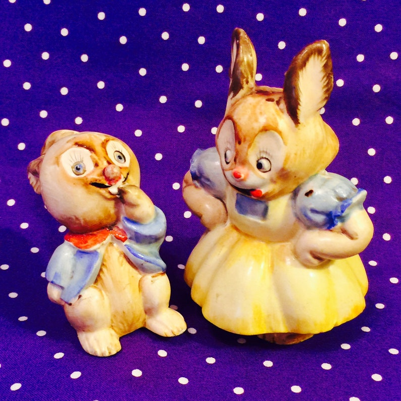 Royal Sealy Anthropomorphic Mother and Baby Bunny Salt and image 0